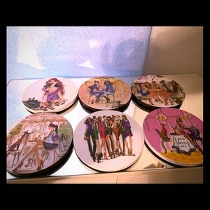 Henri bendel party girl coaster set of 6 with box
